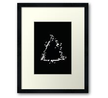 Ink Splatter Triangle - White Framed Print