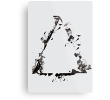 Ink Splatter Triangle - Black Metal Print