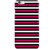 Trendy Hot Pink Black White Stripes iPhone Case/Skin