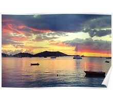 Caribbean Harbor Sunset in Grand Case, St. Martin Poster