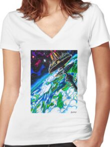 Space Station - Forma XIV Women's Fitted V-Neck T-Shirt