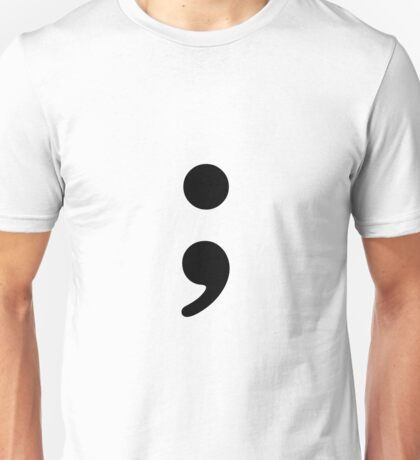 Semicolon; Black Unisex T-Shirt