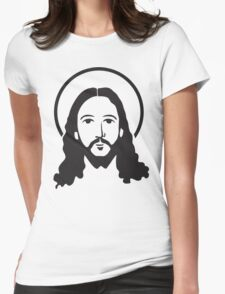 Jesus Christ Face Womens Fitted T-Shirt