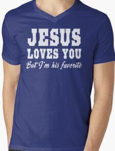 Jesus Loves You But I'm His Favorite Mens V-Neck T-Shirt