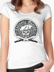 Skull Chef: Culinary Genius 2 Women's Fitted Scoop T-Shirt
