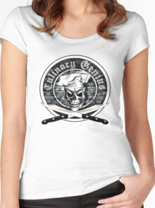 Skull Chef: Culinary Genius 3 Women's Fitted Scoop T-Shirt