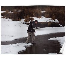 snow covered creek in Eagle River AK Poster