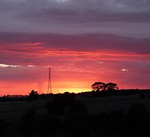 'LET THERE BE LIGHT!' Over the paddocks, Mt. Pleasant. S.A. by Rita Blom