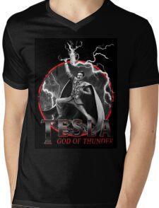 Tesla God Of Thunder Mens V-Neck T-Shirt