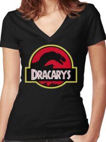 Jurassic Dracarys Women's Fitted V-Neck T-Shirt