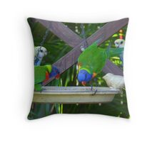 My Very Colouful Feathered Friends Throw Pillow
