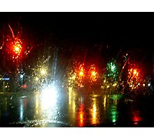 Rainy Night At the Intersection Photographic Print