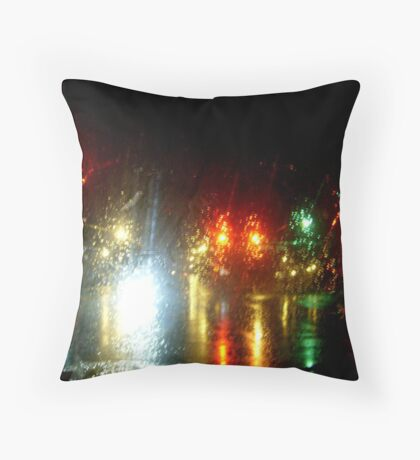 Rainy Night At the Intersection Throw Pillow