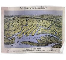 Civil War Maps 1236 Panorama of the seat of war bird's eye view of Virginia Maryland Delaware and the District of Columbia Poster