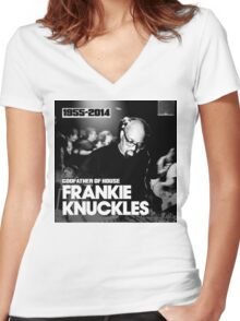 FRANKIE KNUCKLES RIP Women's Fitted V-Neck T-Shirt