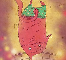 pink cat in green shorts by Zoia Vavrenchuk