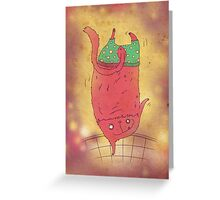 pink cat in green shorts Greeting Card