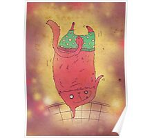 pink cat in green shorts Poster