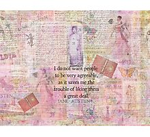 Jane Austen whimsical humor people quote Photographic Print