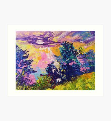Absstract landscape oil painting. Sunrise by Ekaterina Chernova Art Print