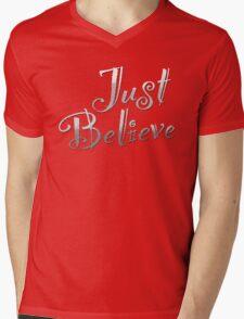 Just Believe Mens V-Neck T-Shirt