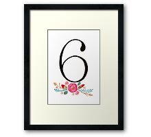 Number 6  - Ink & Watercolour Flowers Framed Print