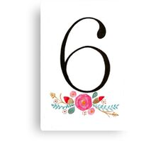 Number 6  - Ink & Watercolour Flowers Canvas Print