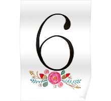 Number 6  - Ink & Watercolour Flowers Poster