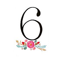 Number 6  - Ink & Watercolour Flowers Photographic Print