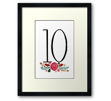 Number 10  - Ink & Watercolour Flowers Framed Print