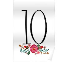 Number 10  - Ink & Watercolour Flowers Poster