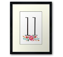 Number 11  - Ink & Watercolour Flowers Framed Print