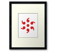 Semicolon; 6-sided Red Framed Print