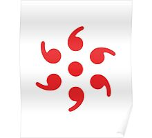 Semicolon; 6-sided Red Poster