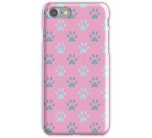 Pink puppy paws pattern iPhone Case/Skin