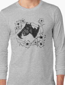 Bat in Apple Tree Ladies T-Shirt by HNTM Long Sleeve T-Shirt