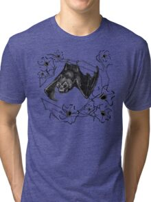 Bat in Apple Tree Ladies T-Shirt by HNTM Tri-blend T-Shirt