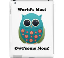 Cute Blue and Green Mother Owl iPad Case/Skin