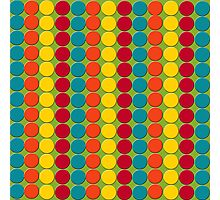 Teal, Red, Yellow, Orange Dots on Green Photographic Print