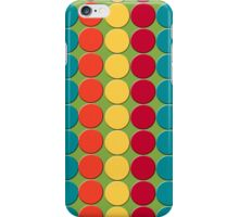 Teal, Red, Yellow, Orange Dots on Green iPhone Case/Skin