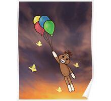 Balloon Sock Monkey Poster