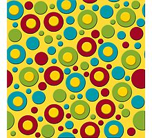 Red Blue and Green Dots on Yellow Photographic Print