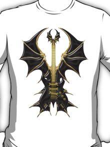 Gothic Black Guitar Bat Wings T-Shirt