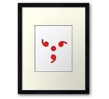 Semicolon; 3-sided Red Framed Print
