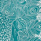 Peacock Linocut in Teal by Adam Regester