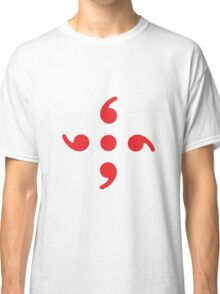 Semicolon; 4-sided Red Classic T-Shirt