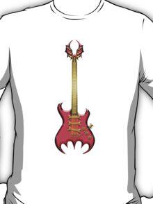 Red Gothic Bat Guitar T-Shirt