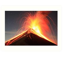 Fuego Erupts on a Moonlit Night Art Print