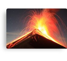 Fuego Erupts on a Moonlit Night Canvas Print