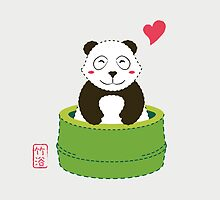 Cute Panda with Bamboo Bathtub  by mspinecone